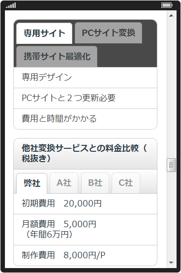 スマートフォン変換 タブ機能